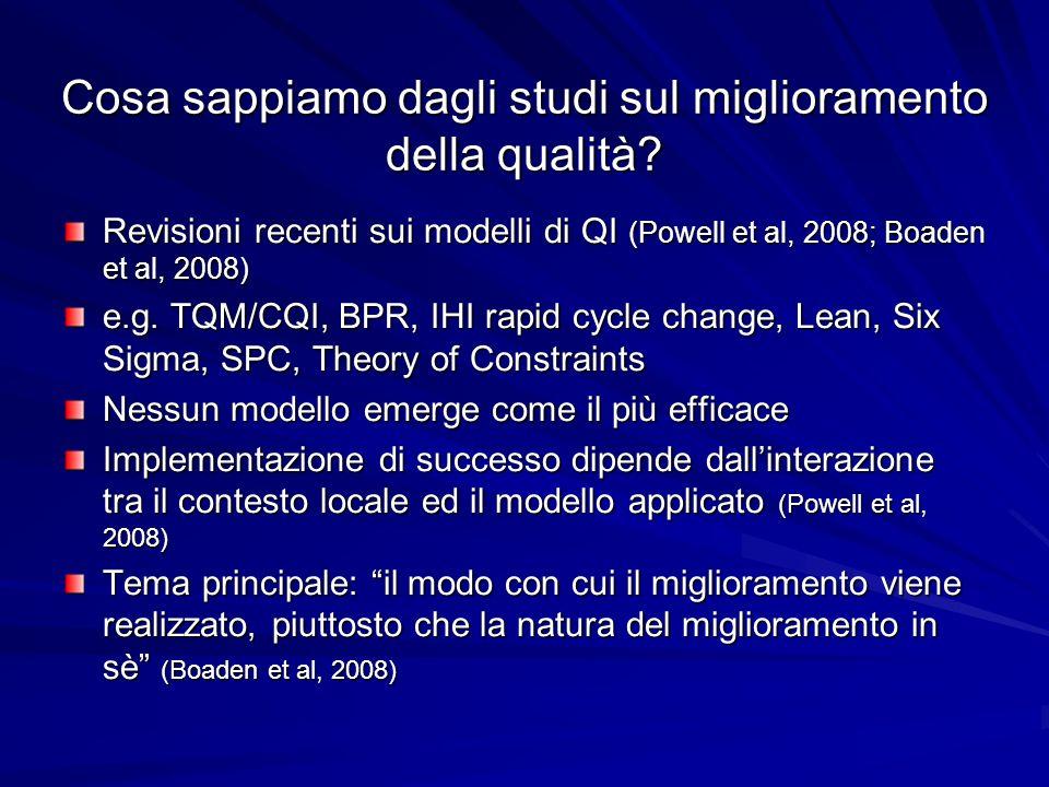 Cosa sappiamo dagli studi sul miglioramento della qualità? Revisioni recenti sui modelli di QI (Powell et al, 2008; Boaden et al, 2008) e.g. TQM/CQI,