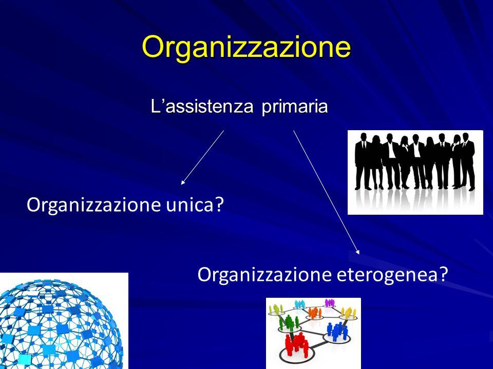 Organizzazione Lassistenza primaria Organizzazione unica? Organizzazione eterogenea?