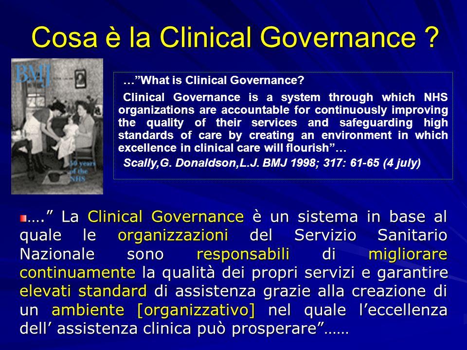 Cosa è la Clinical Governance ? …. La Clinical Governance è un sistema in base al quale le organizzazioni del Servizio Sanitario Nazionale sono respon