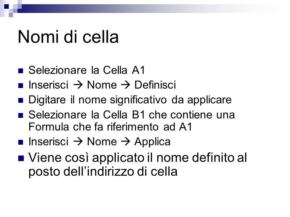 Nomi di cella Selezionare la Cella A1 Inserisci Nome Definisci Digitare il nome significativo da applicare Selezionare la Cella B1 che contiene una Fo
