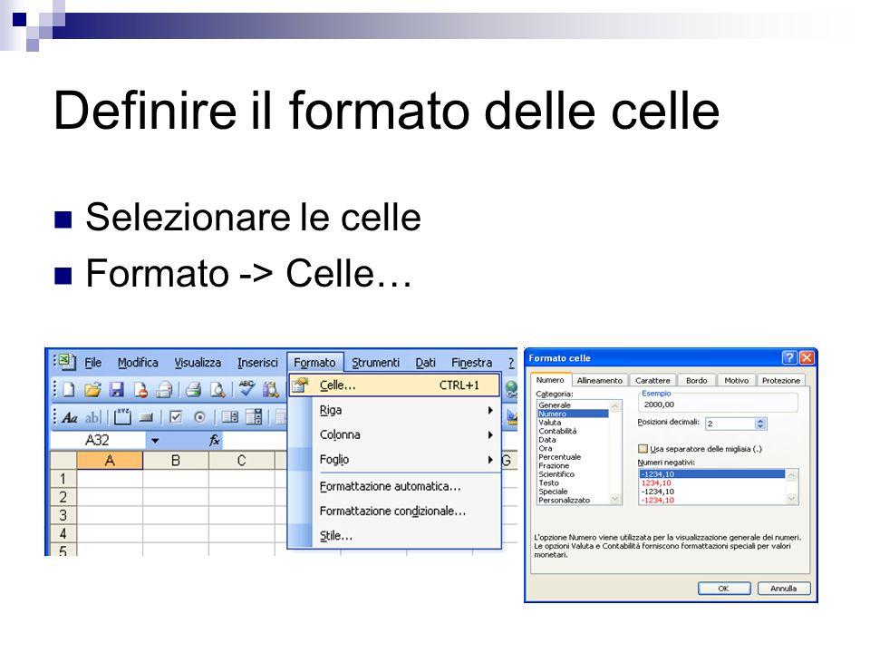 Definire il formato delle celle Selezionare le celle Formato -> Celle…
