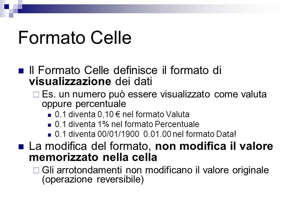 Formato Celle Il Formato Celle definisce il formato di visualizzazione dei dati Es. un numero può essere visualizzato come valuta oppure percentuale 0