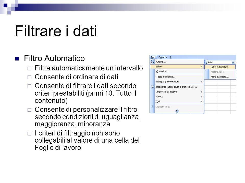 Filtrare i dati Filtro Automatico Filtra automaticamente un intervallo Consente di ordinare di dati Consente di filtrare i dati secondo criteri presta