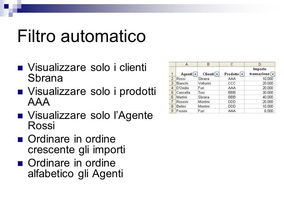 Filtro automatico Visualizzare solo i clienti Sbrana Visualizzare solo i prodotti AAA Visualizzare solo lAgente Rossi Ordinare in ordine crescente gli
