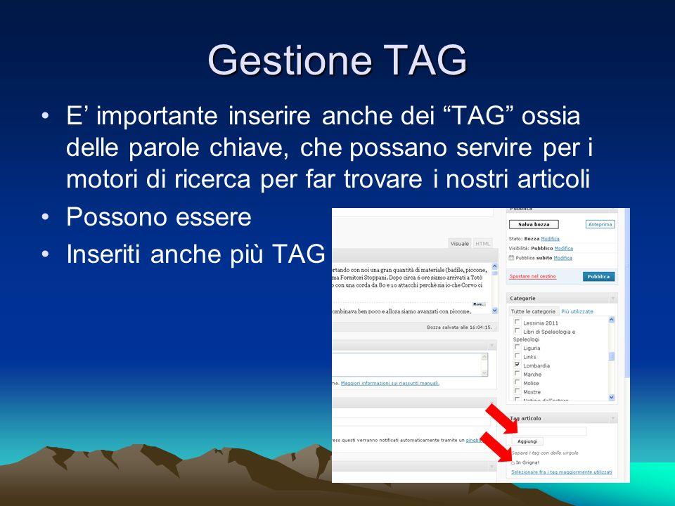 Gestione TAG E importante inserire anche dei TAG ossia delle parole chiave, che possano servire per i motori di ricerca per far trovare i nostri articoli Possono essere Inseriti anche più TAG