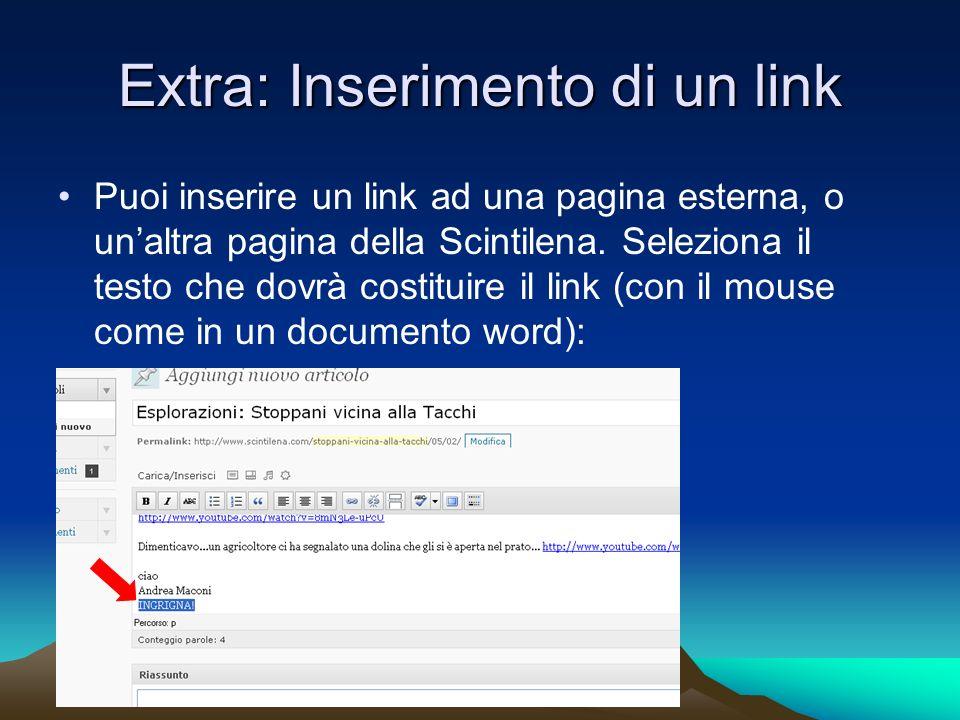Extra: Inserimento di un link Puoi inserire un link ad una pagina esterna, o unaltra pagina della Scintilena.
