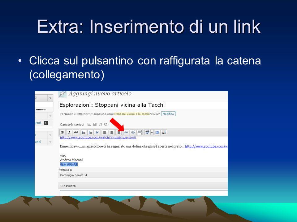 Extra: Inserimento di un link Clicca sul pulsantino con raffigurata la catena (collegamento)