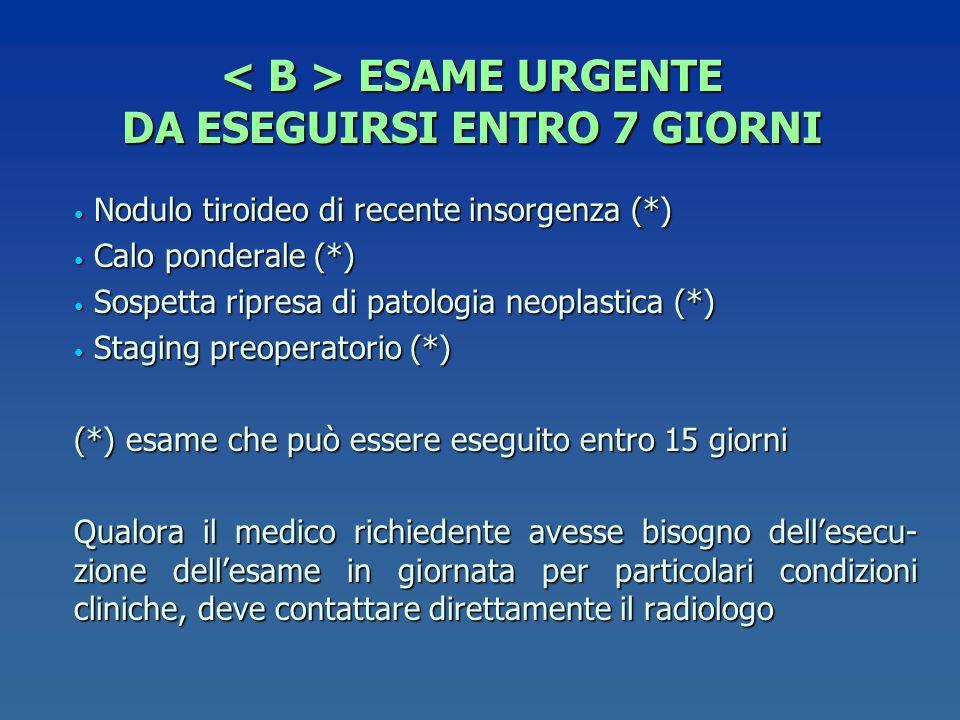 ESAME URGENTE DA ESEGUIRSI ENTRO 7 GIORNI ESAME URGENTE DA ESEGUIRSI ENTRO 7 GIORNI Nodulo tiroideo di recente insorgenza (*) Nodulo tiroideo di recen