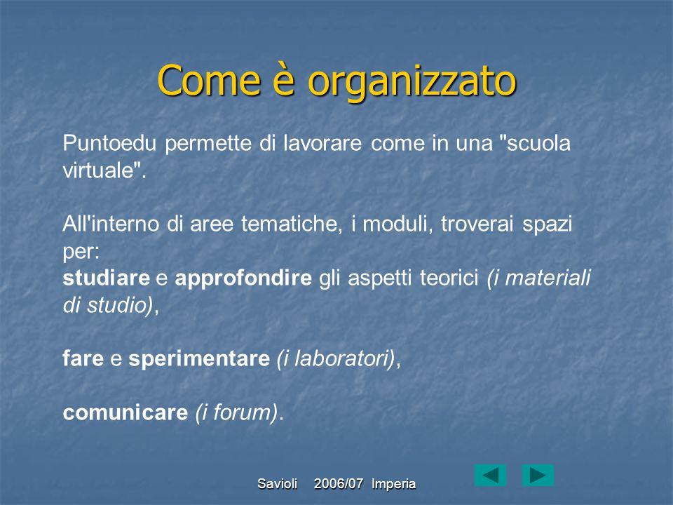 Savioli 2006/07 Imperia Come è organizzato Puntoedu permette di lavorare come in una