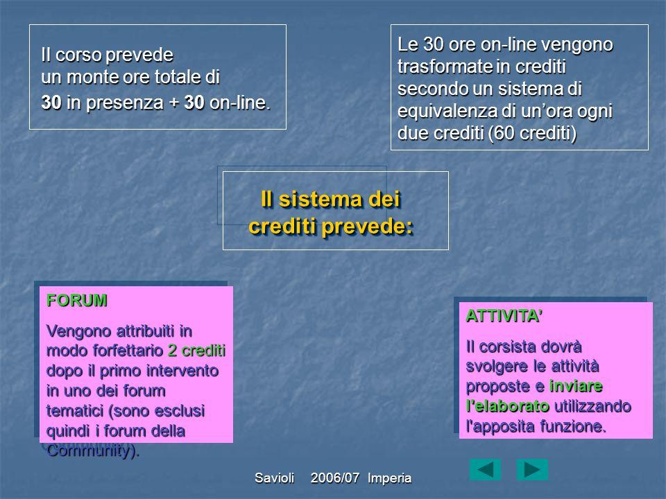 Savioli 2006/07 Imperia Il corso prevede un monte ore totale di 30 in presenza + 30 on-line. Le 30 ore on-line vengono trasformate in crediti secondo