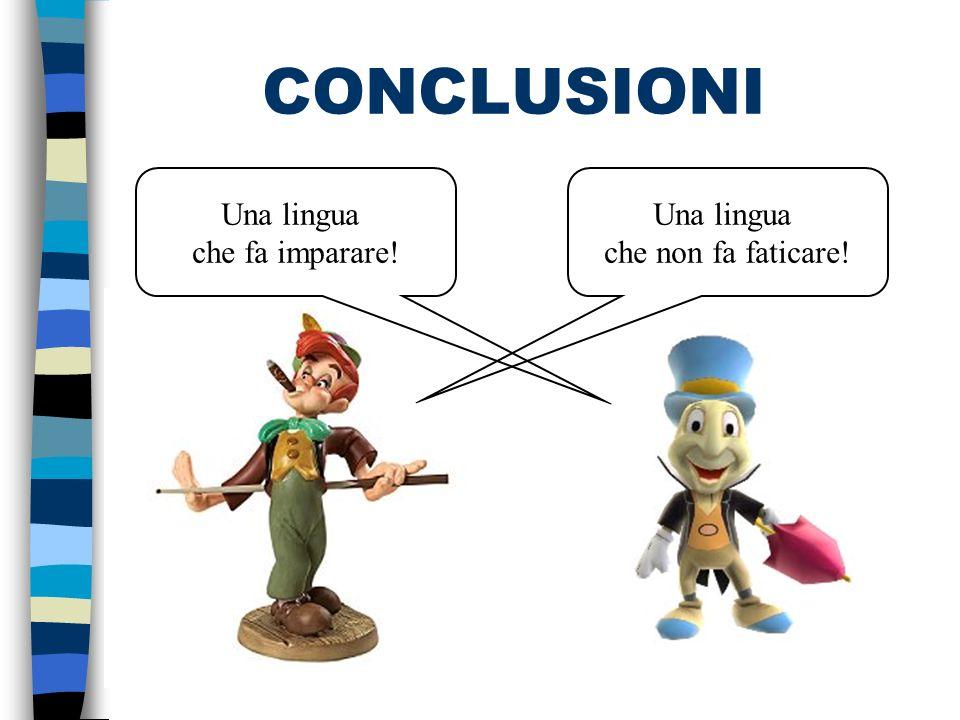 CONCLUSIONI Una lingua che fa imparare! Una lingua che non fa faticare!