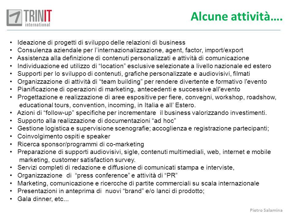 Alcune attività…. Ideazione di progetti di sviluppo delle relazioni di business Consulenza aziendale per linternazionalizzazione, agent, factor, impor
