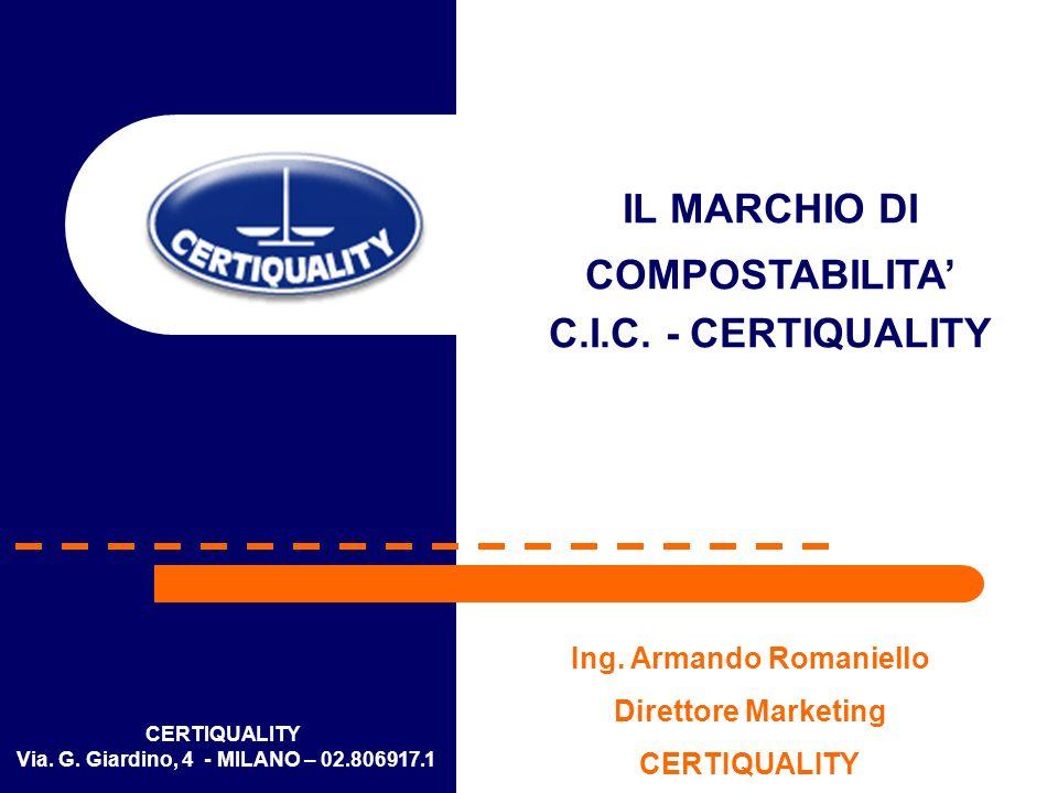 CERTIQUALITY Via. G. Giardino, 4 - MILANO – 02.806917.1 IL MARCHIO DI COMPOSTABILITA C.I.C. - CERTIQUALITY Ing. Armando Romaniello Direttore Marketing