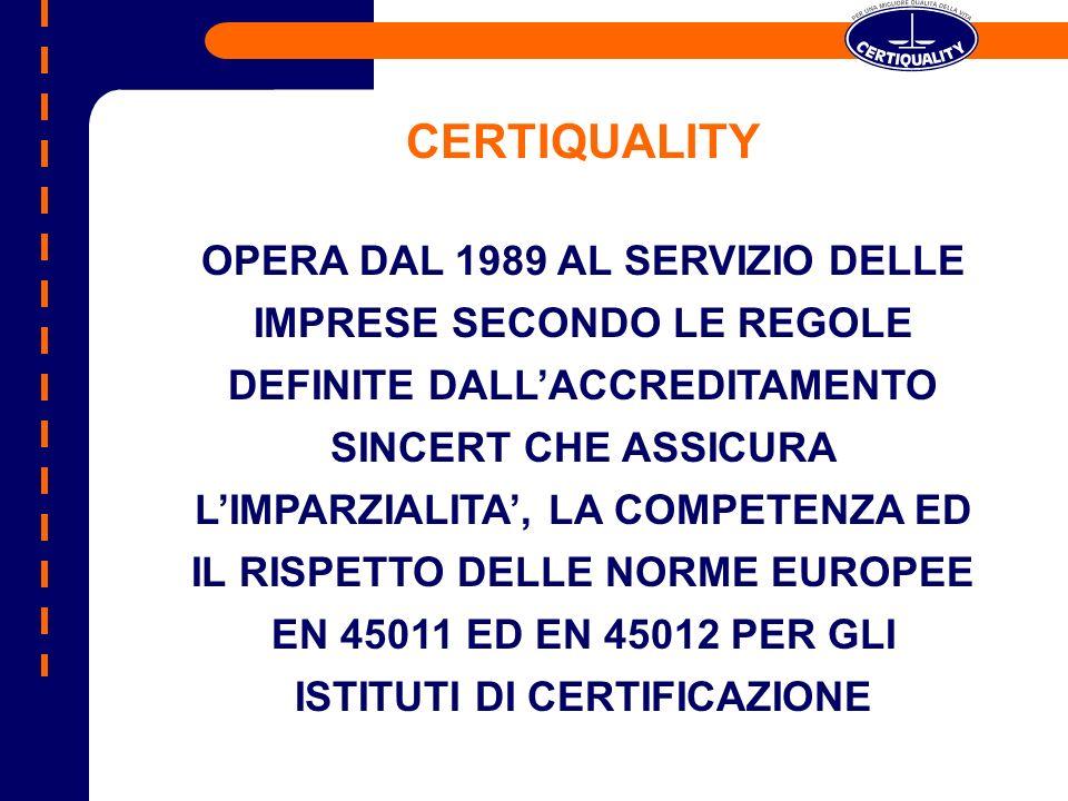 OPERA DAL 1989 AL SERVIZIO DELLE IMPRESE SECONDO LE REGOLE DEFINITE DALLACCREDITAMENTO SINCERT CHE ASSICURA LIMPARZIALITA, LA COMPETENZA ED IL RISPETT