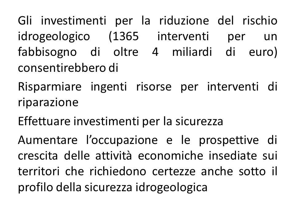 Gli investimenti per la riduzione del rischio idrogeologico (1365 interventi per un fabbisogno di oltre 4 miliardi di euro) consentirebbero di Risparm