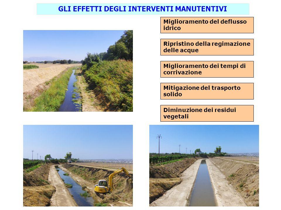 GLI EFFETTI DEGLI INTERVENTI MANUTENTIVI Miglioramento del deflusso idrico Ripristino della regimazione delle acque Miglioramento dei tempi di corriva
