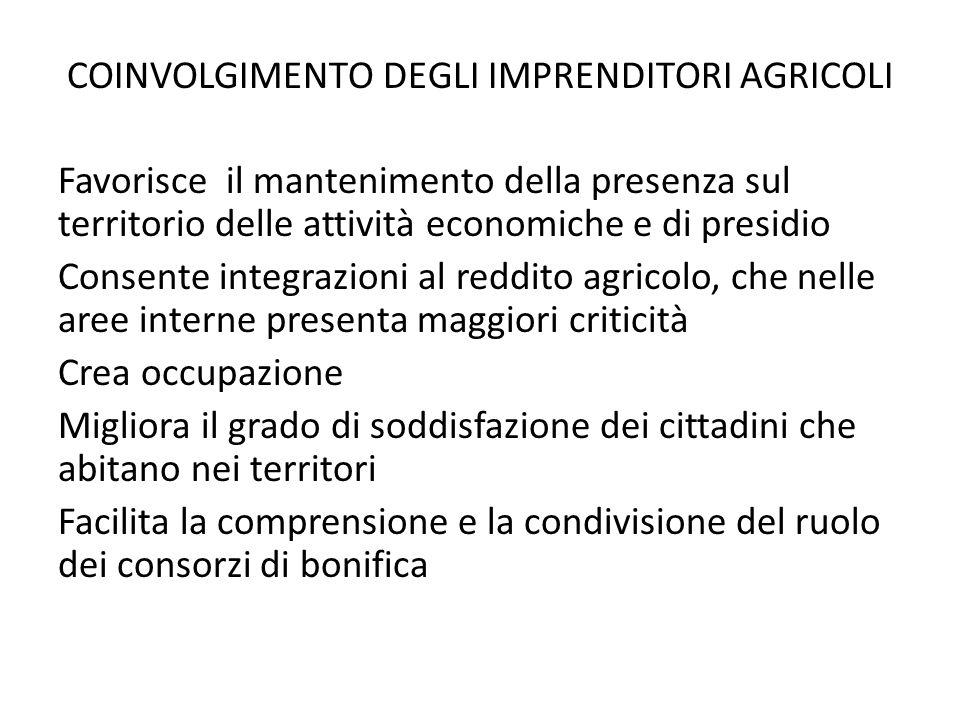 COINVOLGIMENTO DEGLI IMPRENDITORI AGRICOLI Favorisce il mantenimento della presenza sul territorio delle attività economiche e di presidio Consente in
