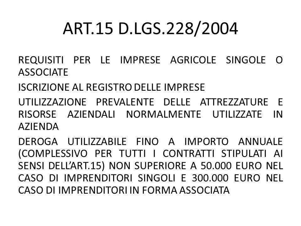 ART.15 D.LGS.228/2004 REQUISITI PER LE IMPRESE AGRICOLE SINGOLE O ASSOCIATE ISCRIZIONE AL REGISTRO DELLE IMPRESE UTILIZZAZIONE PREVALENTE DELLE ATTREZ