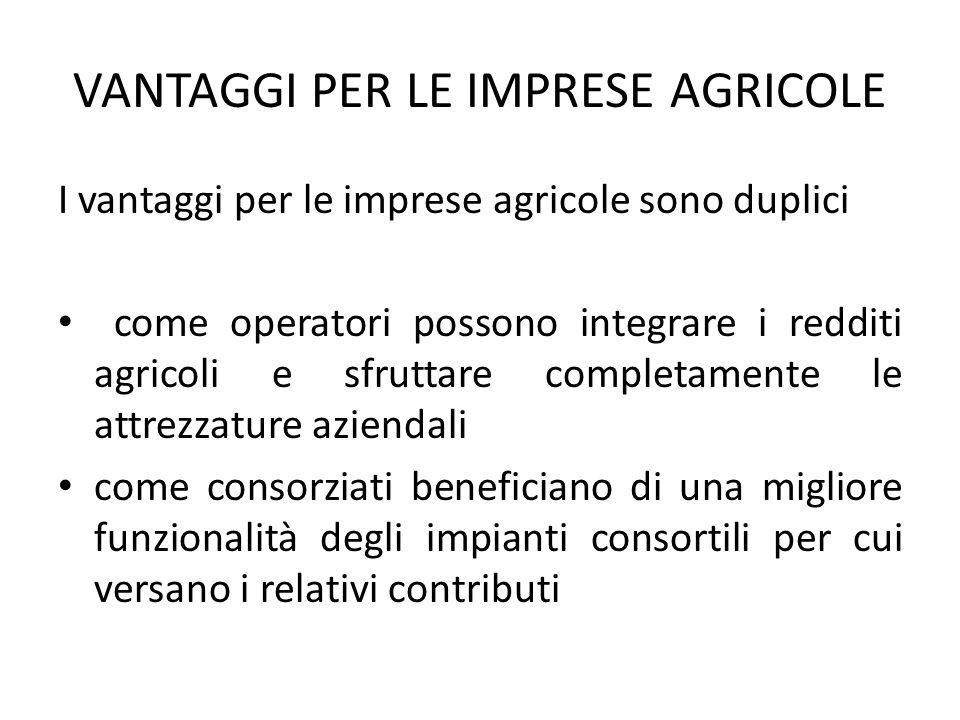 VANTAGGI PER LE IMPRESE AGRICOLE I vantaggi per le imprese agricole sono duplici come operatori possono integrare i redditi agricoli e sfruttare compl