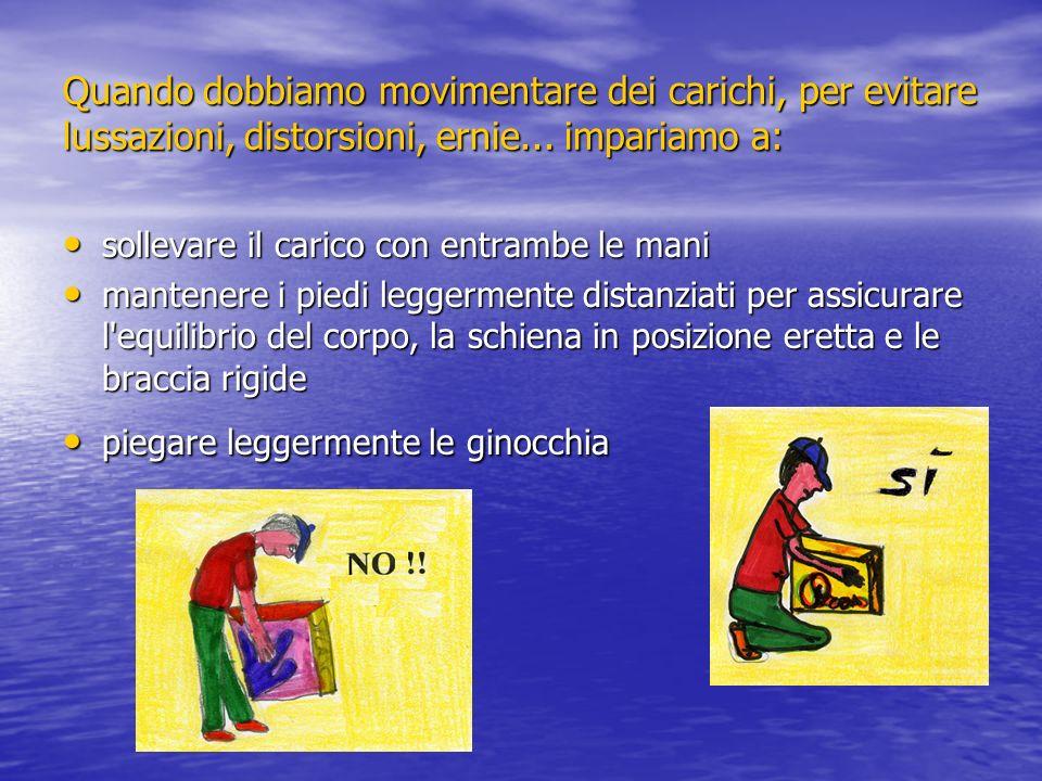 Quando dobbiamo movimentare dei carichi, per evitare lussazioni, distorsioni, ernie... impariamo a: sollevare il carico con entrambe le mani sollevare