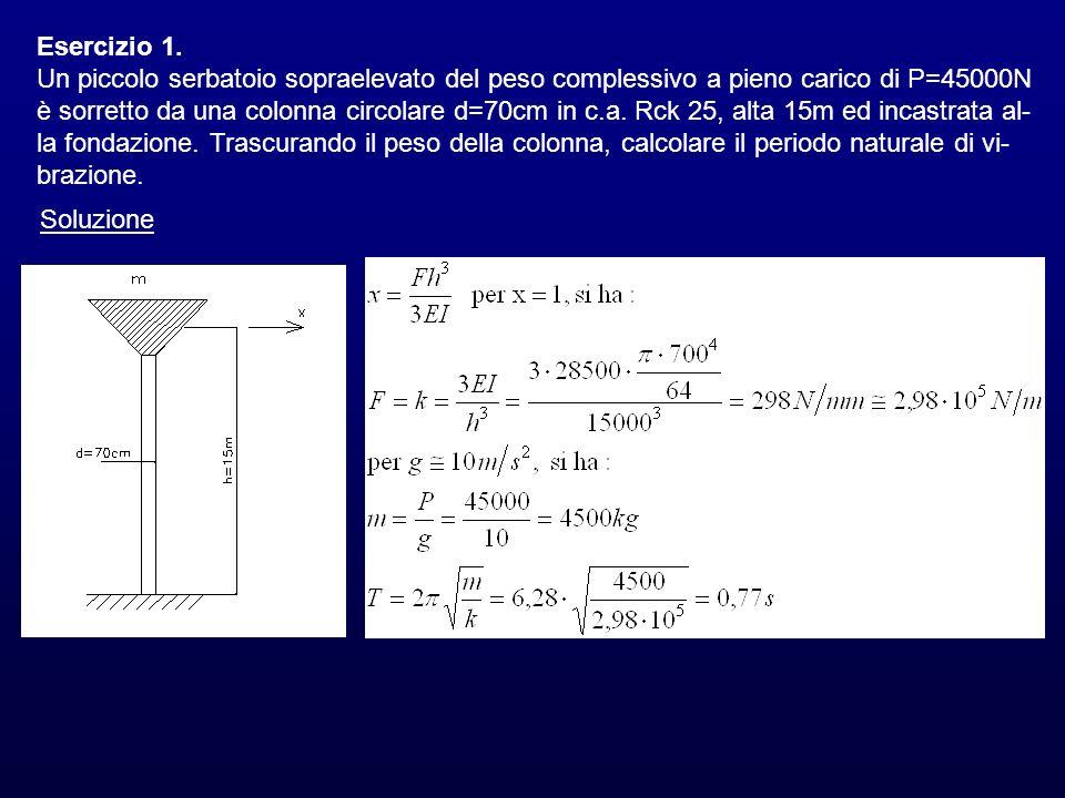 Esercizio 1. Un piccolo serbatoio sopraelevato del peso complessivo a pieno carico di P=45000N è sorretto da una colonna circolare d=70cm in c.a. Rck