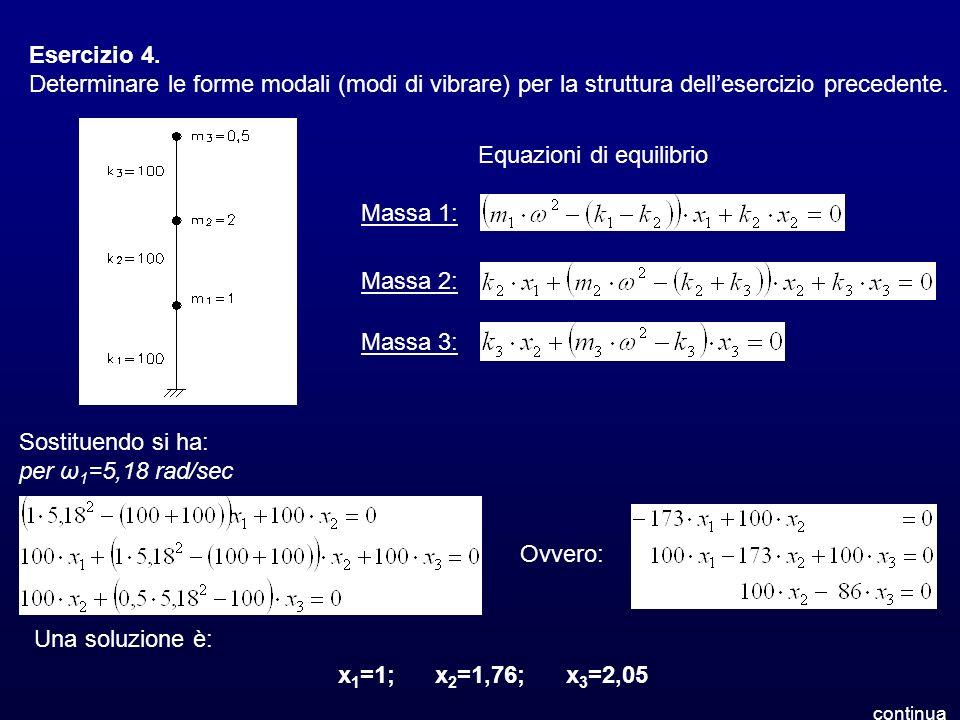 Esercizio 4. Determinare le forme modali (modi di vibrare) per la struttura dellesercizio precedente. Equazioni di equilibrio Massa 1: Massa 2: Massa