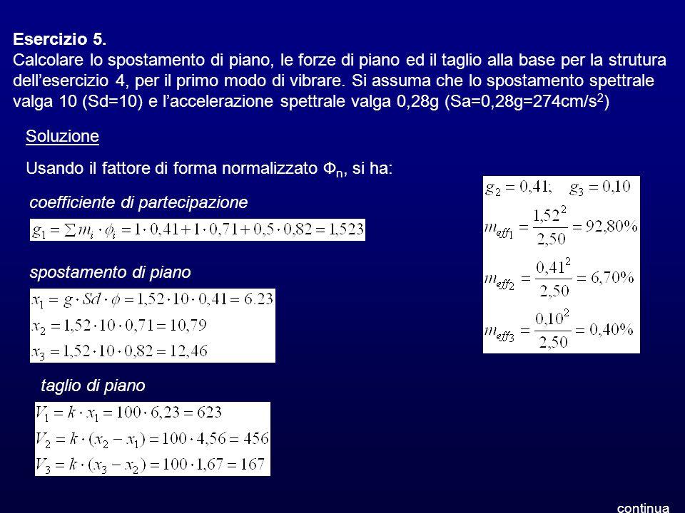 Esercizio 5. Calcolare lo spostamento di piano, le forze di piano ed il taglio alla base per la strutura dellesercizio 4, per il primo modo di vibrare