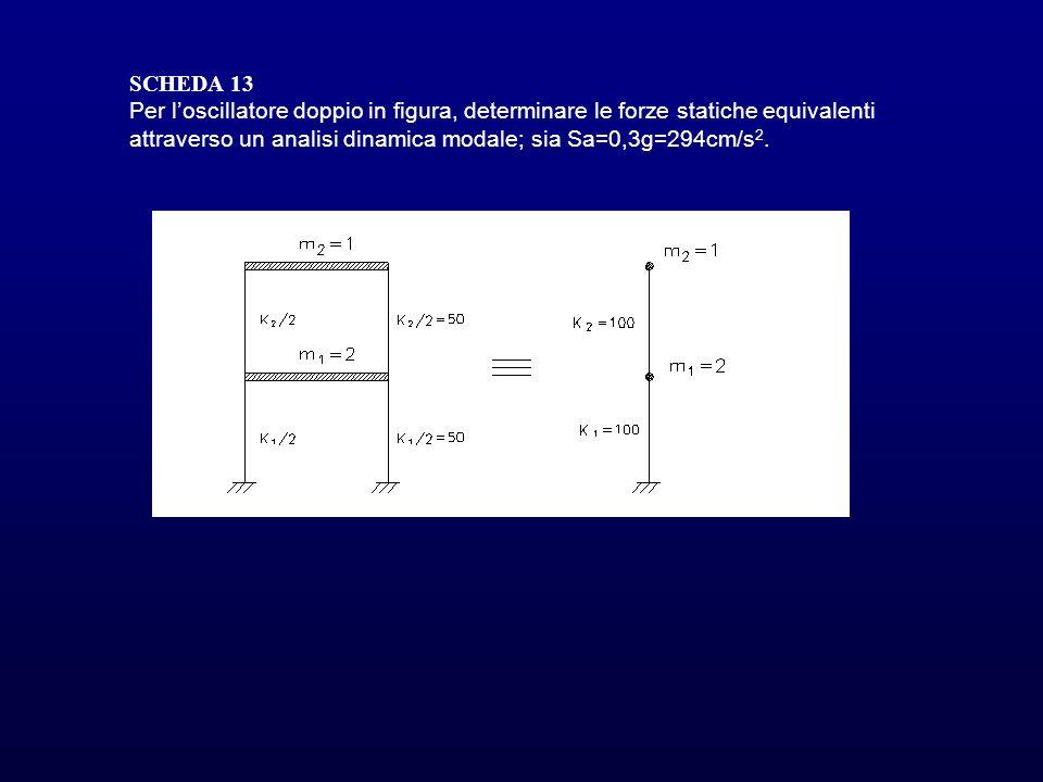 SCHEDA 13 Per loscillatore doppio in figura, determinare le forze statiche equivalenti attraverso un analisi dinamica modale; sia Sa=0,3g=294cm/s 2.