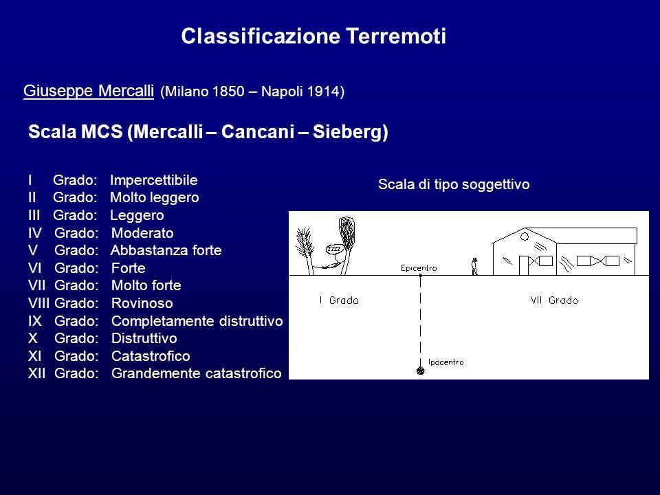 Classificazione Terremoti Giuseppe Mercalli (Milano 1850 – Napoli 1914) Scala MCS (Mercalli – Cancani – Sieberg) I Grado: Impercettibile II Grado: Mol