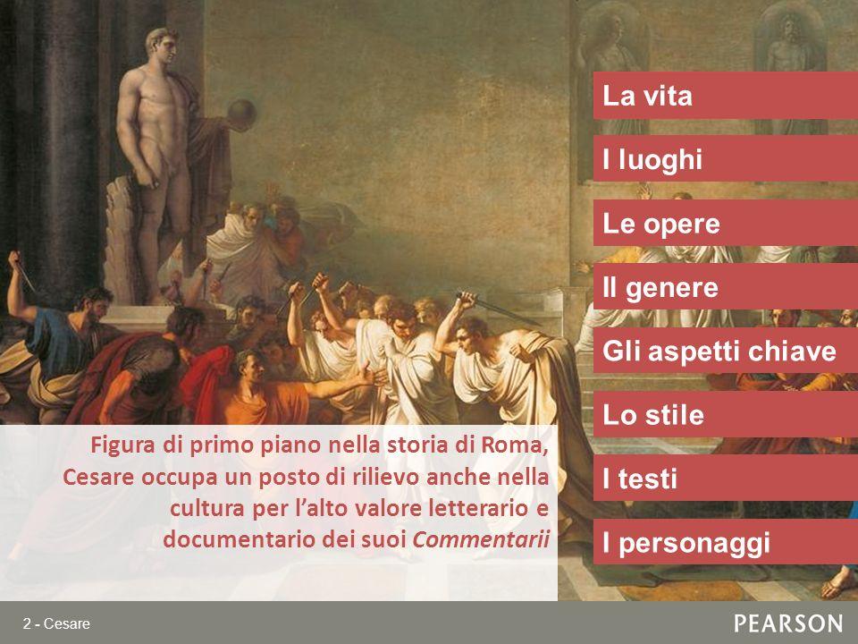 2 - Cesare Figura di primo piano nella storia di Roma, Cesare occupa un posto di rilievo anche nella cultura per lalto valore letterario e documentari