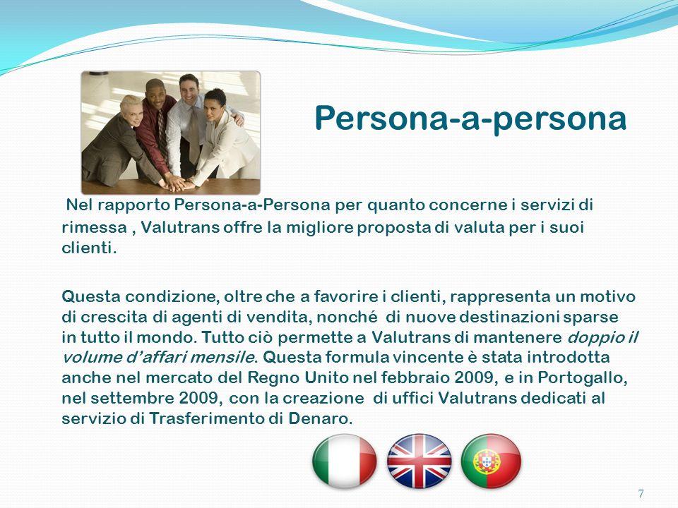 Nel rapporto Persona-a-Persona per quanto concerne i servizi di rimessa, Valutrans offre la migliore proposta di valuta per i suoi clienti. Questa con