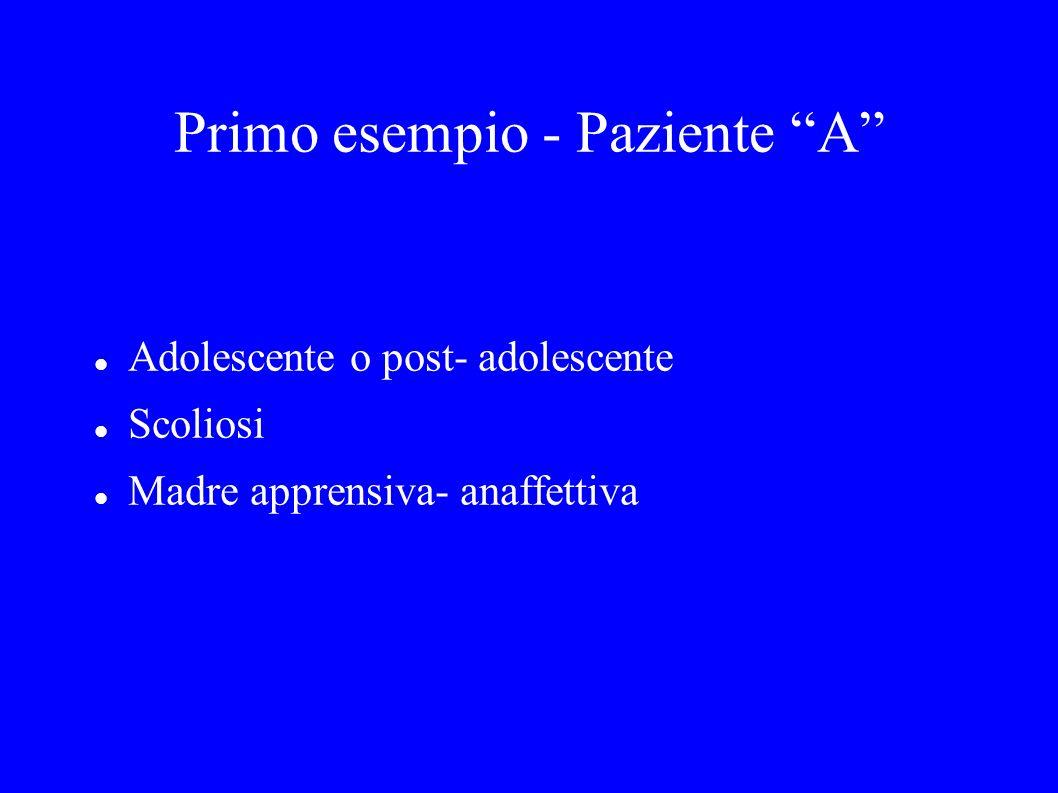Primo esempio - Paziente A Adolescente o post- adolescente Scoliosi Madre apprensiva- anaffettiva