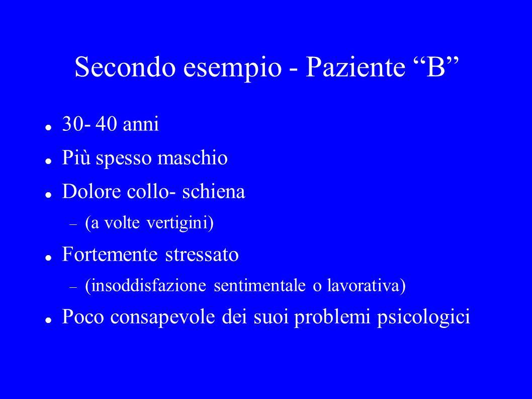 Secondo esempio - Paziente B 30- 40 anni Più spesso maschio Dolore collo- schiena (a volte vertigini) Fortemente stressato (insoddisfazione sentimenta