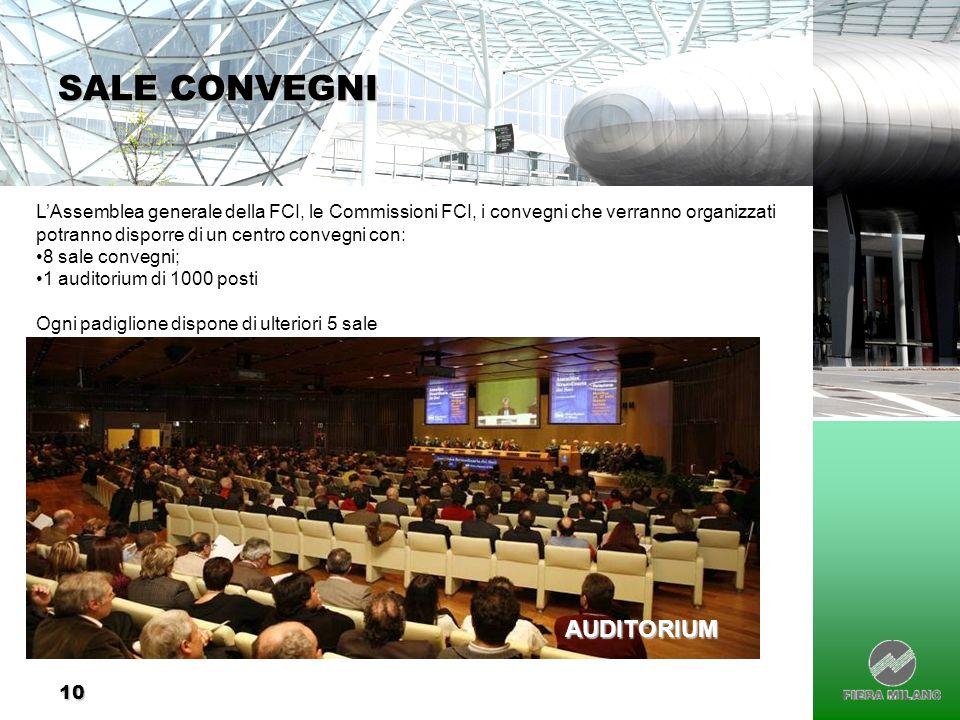 10 SALE CONVEGNI LAssemblea generale della FCI, le Commissioni FCI, i convegni che verranno organizzati potranno disporre di un centro convegni con: 8