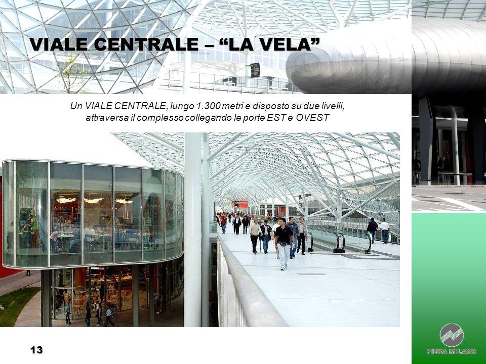 13 VIALE CENTRALE – LA VELA Un VIALE CENTRALE, lungo 1.300 metri e disposto su due livelli, attraversa il complesso collegando le porte EST e OVEST