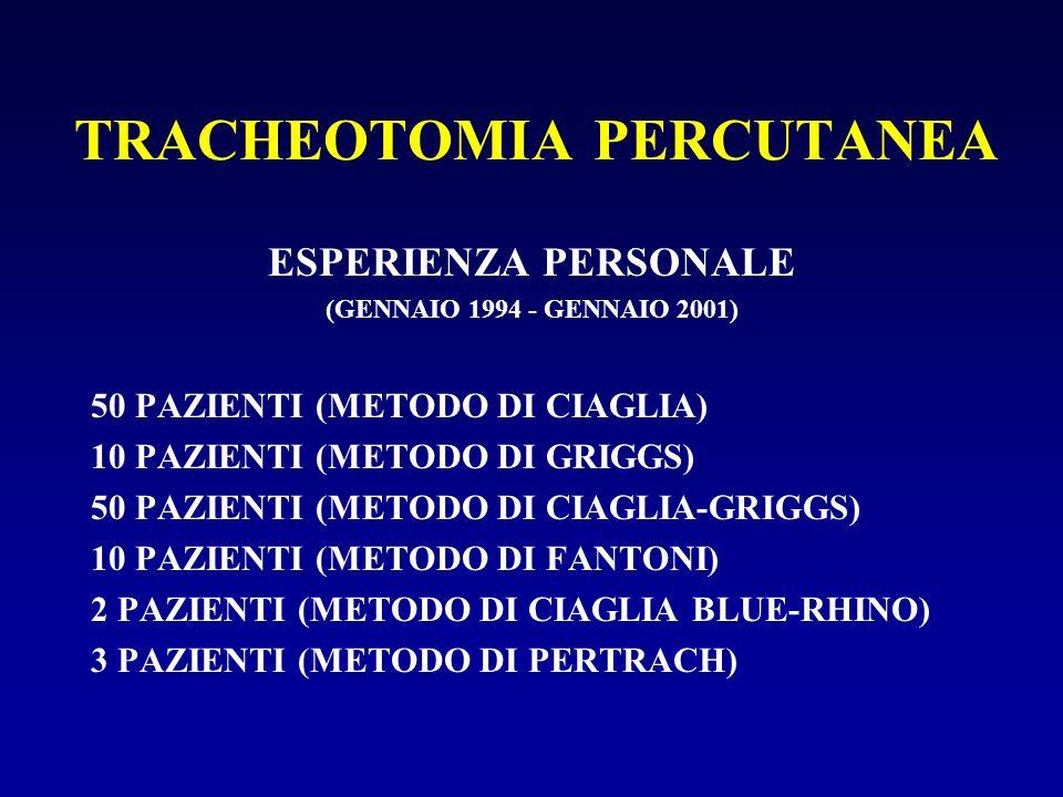 TRACHEOTOMIA PERCUTANEA ESPERIENZA PERSONALE (GENNAIO 1994 - GENNAIO 2001) 50 PAZIENTI (METODO DI CIAGLIA) 10 PAZIENTI (METODO DI GRIGGS) 50 PAZIENTI