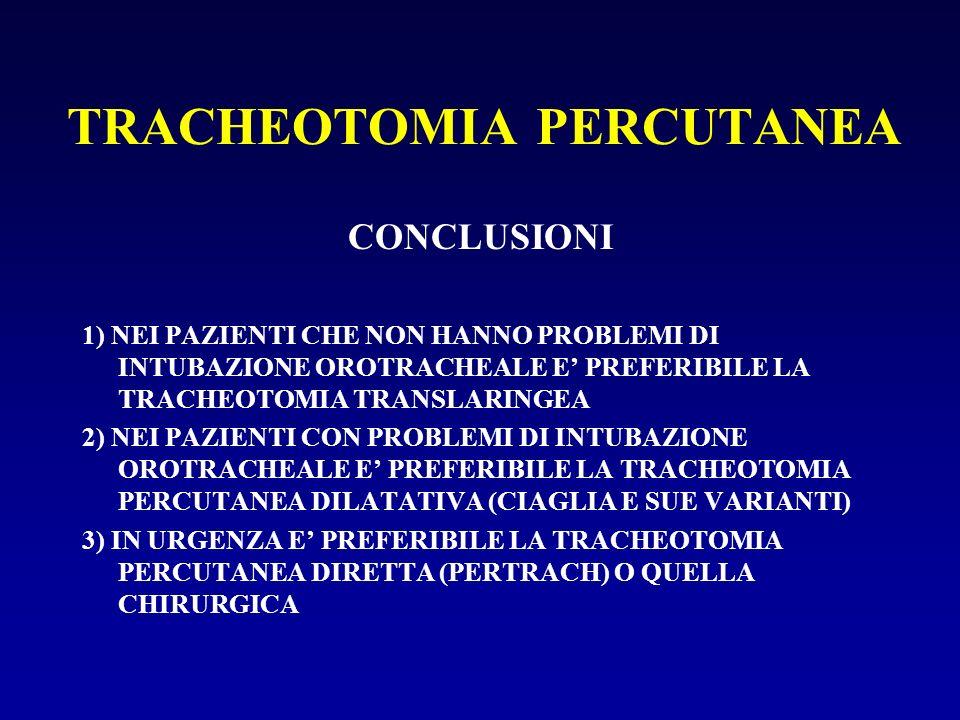 TRACHEOTOMIA PERCUTANEA CONCLUSIONI 1) NEI PAZIENTI CHE NON HANNO PROBLEMI DI INTUBAZIONE OROTRACHEALE E PREFERIBILE LA TRACHEOTOMIA TRANSLARINGEA 2)