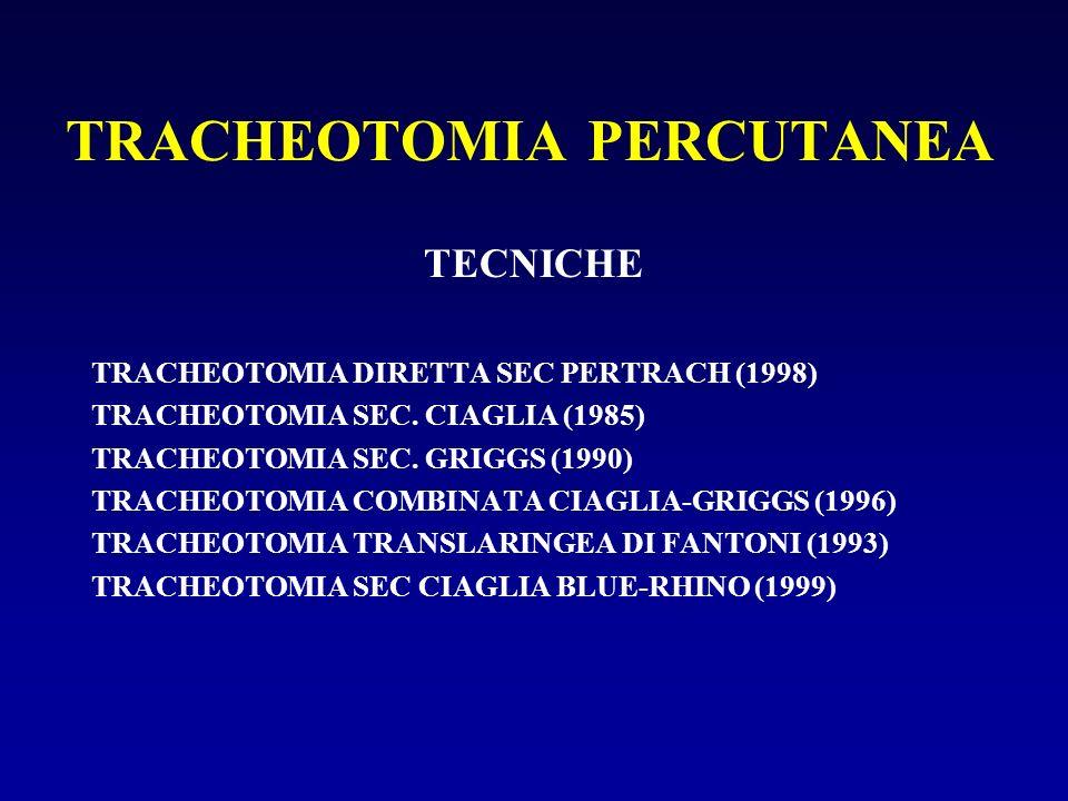 TRACHEOTOMIA PERCUTANEA TECNICHE TRACHEOTOMIA DIRETTA SEC PERTRACH (1998) TRACHEOTOMIA SEC. CIAGLIA (1985) TRACHEOTOMIA SEC. GRIGGS (1990) TRACHEOTOMI