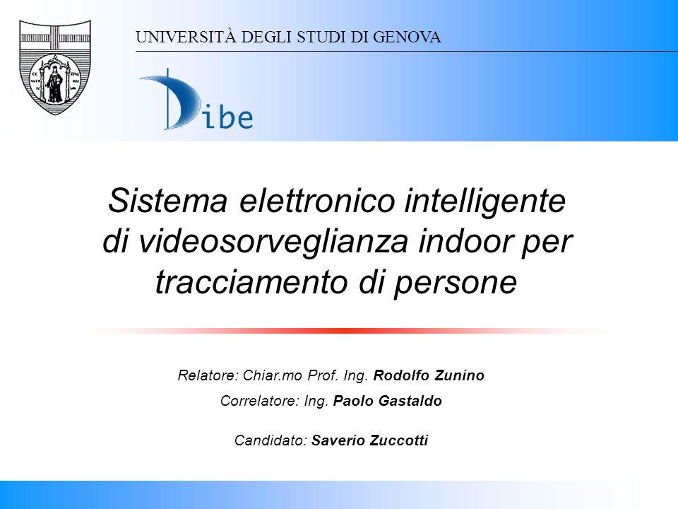 Sistema elettronico intelligente di videosorveglianza indoor per tracciamento di persone UNIVERSITÀ DEGLI STUDI DI GENOVA Relatore: Chiar.mo Prof. Ing