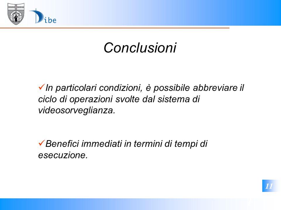 1 11 Conclusioni In particolari condizioni, è possibile abbreviare il ciclo di operazioni svolte dal sistema di videosorveglianza. Benefici immediati