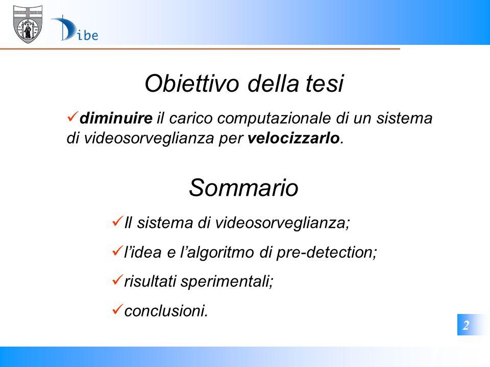 1 2 Sommario Il sistema di videosorveglianza; lidea e lalgoritmo di pre-detection; risultati sperimentali; conclusioni. Obiettivo della tesi diminuire