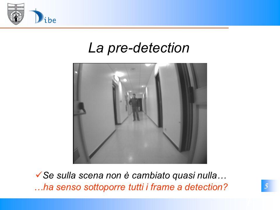 1 5 La pre-detection …ha senso sottoporre tutti i frame a detection? Se sulla scena non è cambiato quasi nulla…