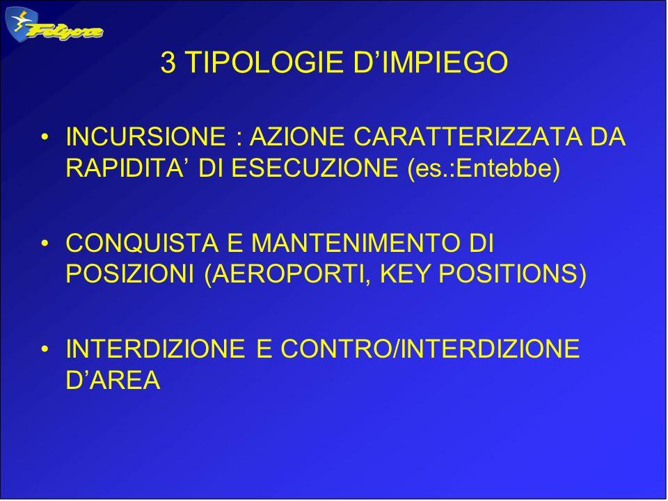 3 TIPOLOGIE DIMPIEGO INCURSIONE : AZIONE CARATTERIZZATA DA RAPIDITA DI ESECUZIONE (es.:Entebbe) CONQUISTA E MANTENIMENTO DI POSIZIONI (AEROPORTI, KEY