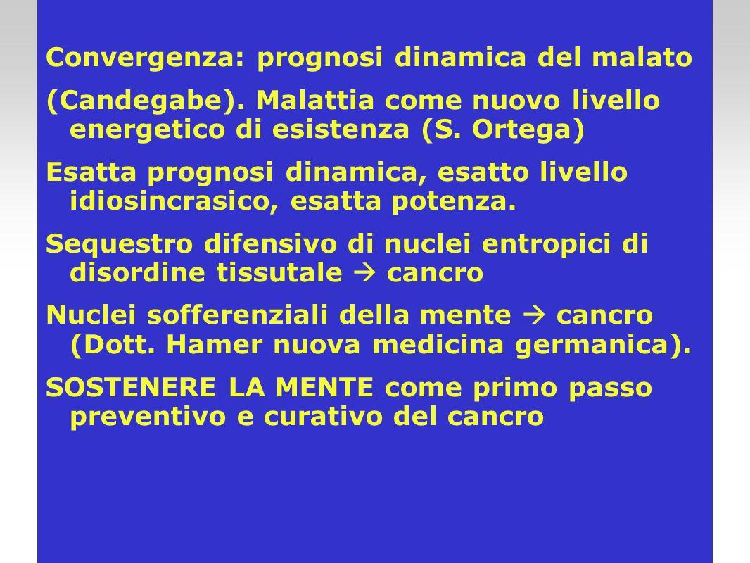 Convergenza: prognosi dinamica del malato (Candegabe). Malattia come nuovo livello energetico di esistenza (S. Ortega) Esatta prognosi dinamica, esatt
