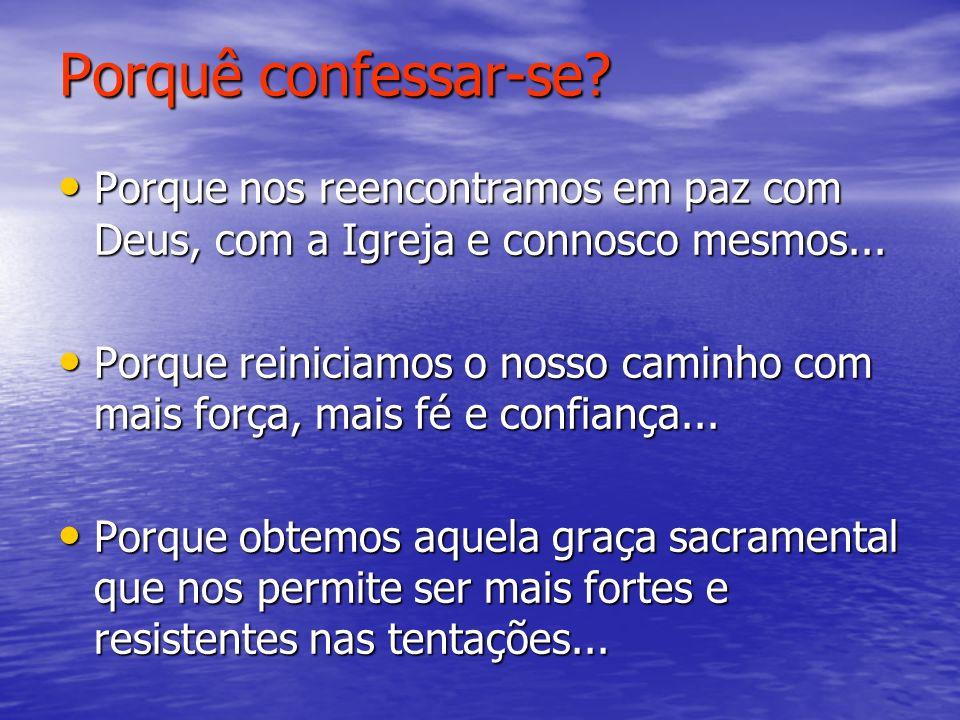 Porquê confessar-se.Porque somos débeis e muito frequentemente caímos no pecado...