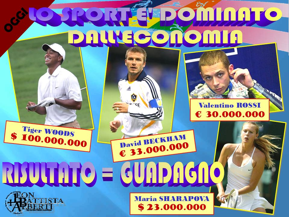 O G G I Tiger WOODS $ 100.000.000 Valentino ROSSI 30.000.000 David BECKHAM 33.000.000 Maria SHARAPOVA $ 23.000.000