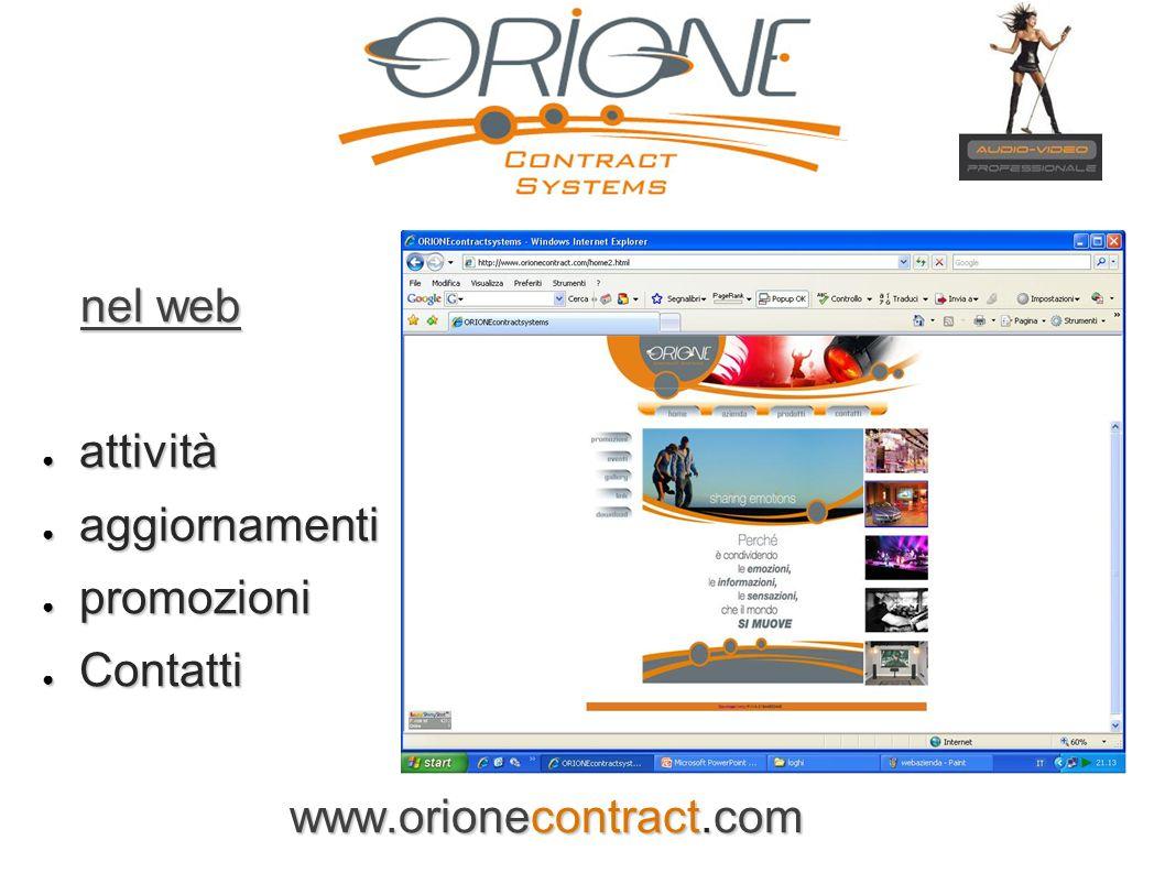 nel web nel web attività attività aggiornamenti aggiornamenti promozioni promozioni Contatti Contatti www.orionecontract.com www.orionecontract.com