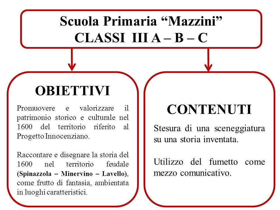 Scuola Primaria Mazzini CLASSI III A – B – C OBIETTIVI Promuovere e valorizzare il patrimonio storico e culturale nel 1600 del territorio riferito al