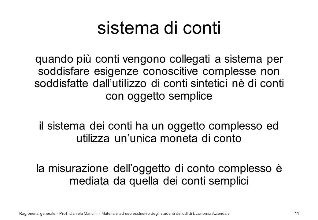 Ragioneria generale - Prof. Daniela Mancini - Materiale ad uso esclusivo degli studenti del cdl di Economia Aziendale11 sistema di conti quando più co