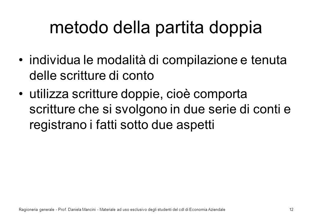 Ragioneria generale - Prof. Daniela Mancini - Materiale ad uso esclusivo degli studenti del cdl di Economia Aziendale12 metodo della partita doppia in